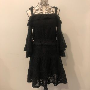 Anthro foxiedox Black Lace Off The Shoulder Dress